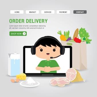 Concept de service de livraison en ligne cartoon illustration. ordinateur portable application ouverte pour infographie de commande de nourriture en ligne. covid19. quarantaine dans la ville.
