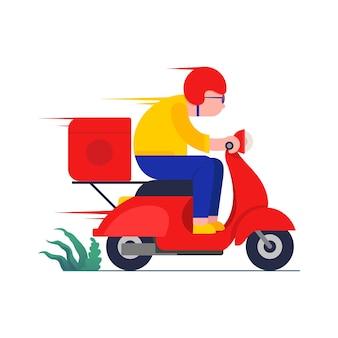 Concept de service de livraison en ligne livreur chevauchant une illustration de scooter rouge