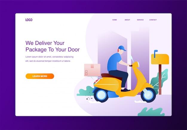 Concept de service de livraison avec moto scooter et boîtes en carton