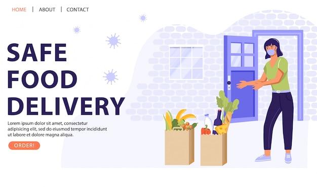 Concept de service de livraison de nourriture sûre.