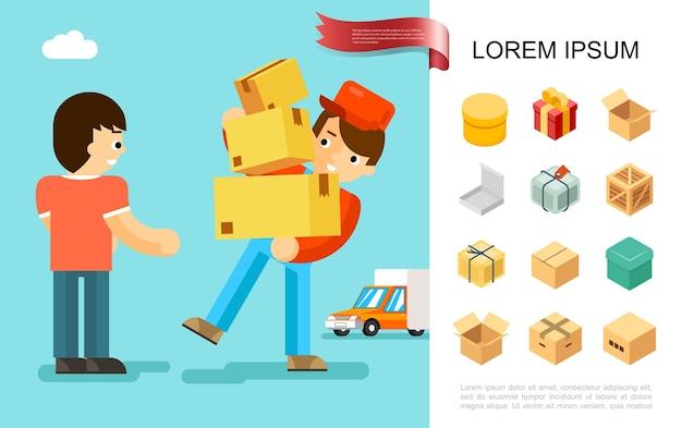 Concept de service de livraison à plat
