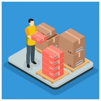 Concept de service de livraison rapide isométrique