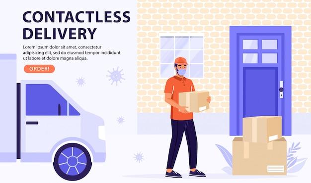 Concept de service de livraison sans contact. courrier sur van apporter des colis.