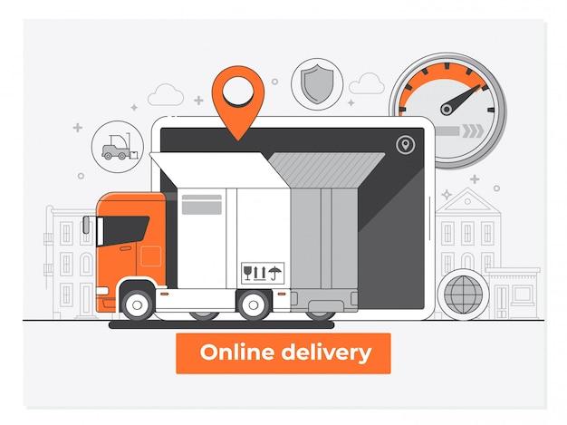 Concept de service de livraison style plat vector illustration