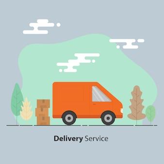 Concept de service de livraison. van et boîtes en carton avec des signes fragiles.