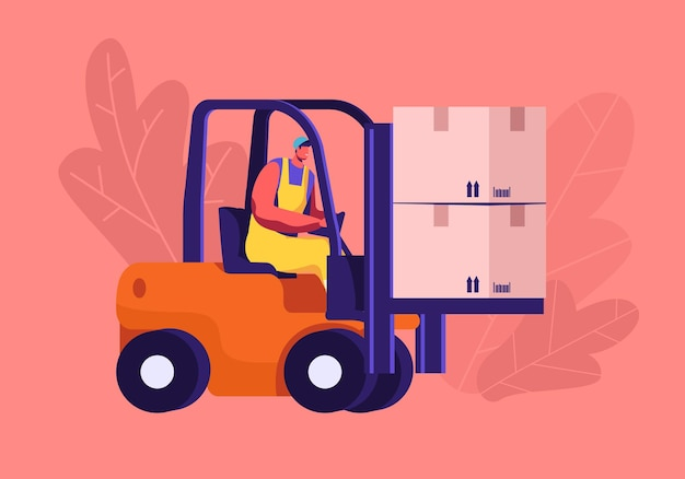 Concept de service de logistique et d'entrepôt de fret. illustration plate de dessin animé