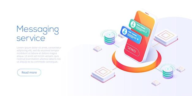 Concept de service de messagerie en illustration isométrique