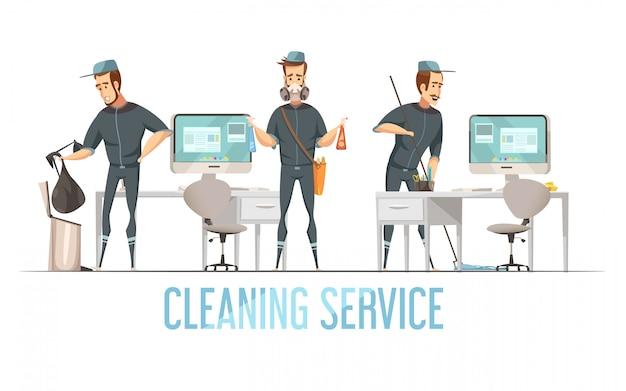 Concept de service de nettoyage avec un homme en uniforme qui enlève les déchets, nettoie et désinfecte les locaux