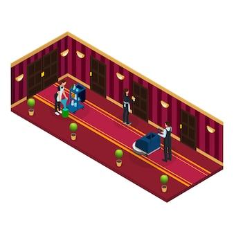 Concept de service de nettoyage d'hôtel isométrique