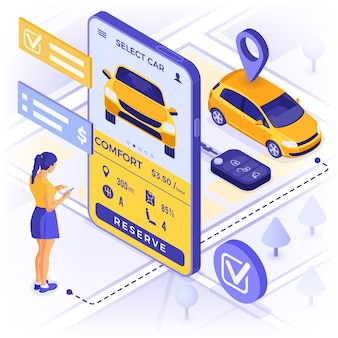 Concept de service de partage de voiture. fille en ligne choisissez la voiture pour le covoiturage.