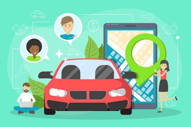 Concept de service de partage de voiture. idée de véhicule