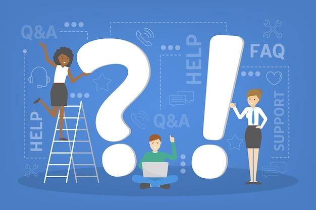 Concept de service q et a. idée de service client et support technique. aider les clients avec des problèmes. fournir au client des informations précieuses. ensemble d'icônes de support. illustration
