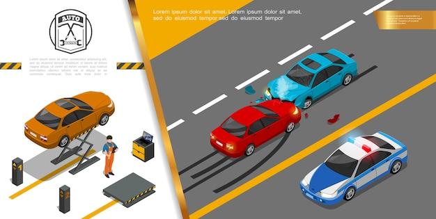 Concept de service de réparation automobile isométrique