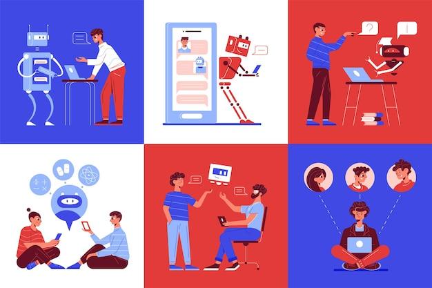 Concept de service de support chatbot 6 compositions plates colorées avec robot robot automatisé effectuant des tâches de routine illustration