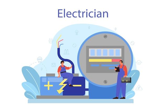 Concept de service de travaux d'électricité. travailleur professionnel dans l'élément électrique de réparation uniforme. technicien de réparation et d'économie d'énergie. illustration vectorielle isolé en style cartoon
