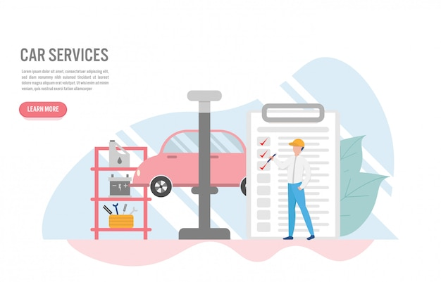 Concept de service de voiture avec caractère au design plat