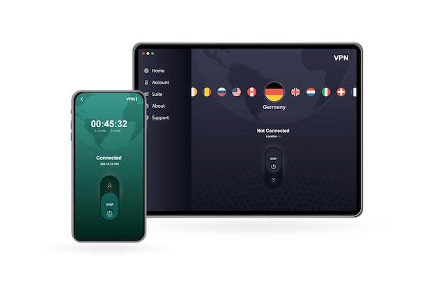 Concept de service vpn utiliser vpn pour protéger ses données personnelles dans le réseau privé virtuel du smartphone