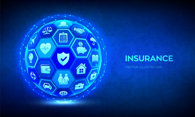 Concept de services d'assurance. sphère 3d abstraite ou globe avec des icônes. voiture, voyage, famille et vie, immobilier, assurance financière et maladie.