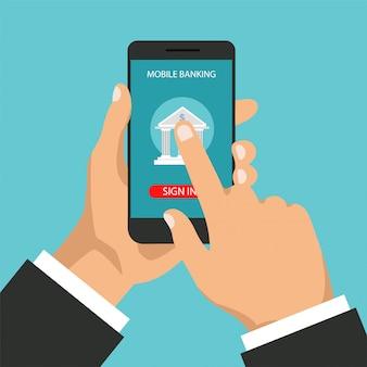 Concept de services bancaires mobiles. transaction monétaire, paiement commercial et mobile. homme d'affaires détient un téléphone et signe dans l'application. illustration dans un style branché plat.