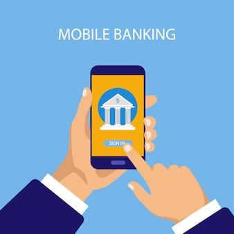 Concept de services bancaires mobiles. transaction monétaire, paiement commercial et mobile.