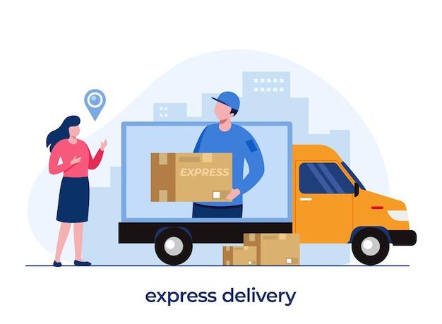 Concept de services de livraison, application de livraison en ligne, livreur, expédition, vecteur d'illustration plat