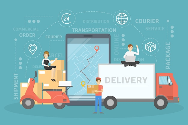 Concept de services de livraison. rapide et sûr. carte gps avec coordonnées de destination. réseau logistique mondial. illustration