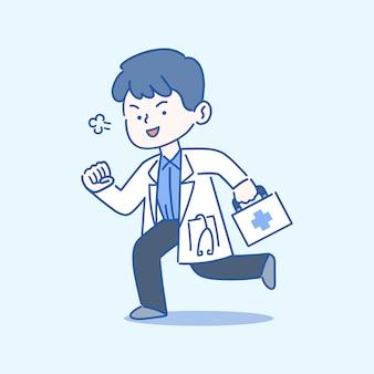 Concept de services médicaux et de soins de santé, docteur en cours d'exécution avec boîte de premiers soins, illustration de style dessiné à la main.