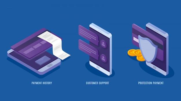 Concept de services de paiements mobiles. données de protection financière, cartes de crédit et comptes. transaction d'argent, business, support client. illustration isométrique 3d.
