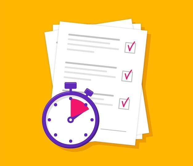 Concept de services rapides avec liste de contrôle et chronomètre