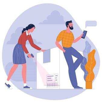 Concept de services de suivi de colis. livraison express, suivi intelligent en ligne.