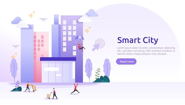 Concept de services de ville intelligente avec réseaux internet des objets et réalité augmentée. paysage urbain avec bâtiments, gratte-ciel, bannière de trafic de transport
