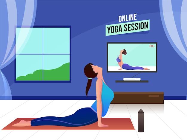 Concept de session de yoga en ligne