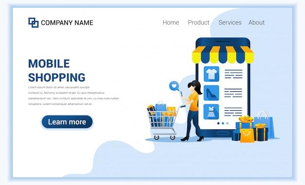 Concept de shopping mobile avec téléphone mobile géant affichant les produits de la boutique et le personnage de femme portant un chariot.