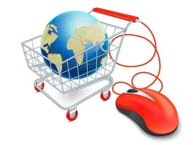 Concept de shopping panier internet