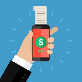 Concept de shopping ou de services bancaires mobiles. services bancaires mobiles avec téléphone intelligent et chèque de paie. design plat.