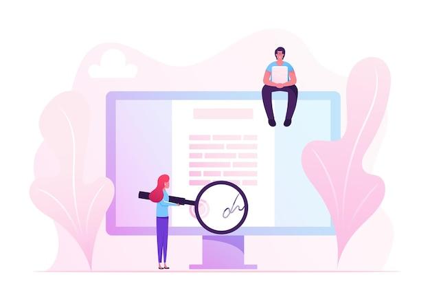 Concept de signature de contrat en ligne. illustration plate de dessin animé