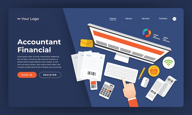 Concept de site web comptable financier. illustration.
