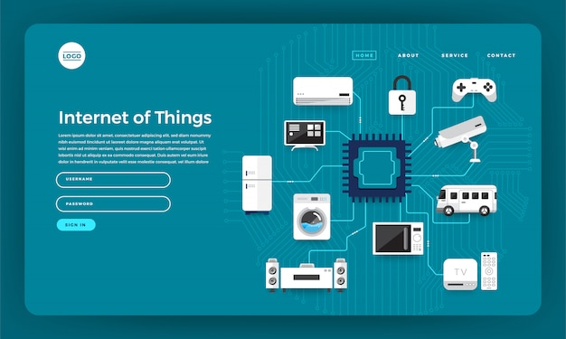 Concept de site web internet des objets (iot). illustration.