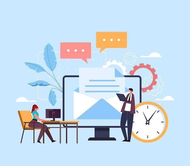 Concept de site web de réseau de service de messagerie.