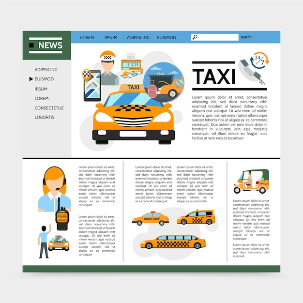 Concept de site web de service de taxi plat
