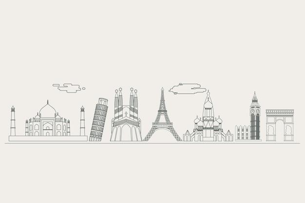 Concept de skyline de contours monochromatiques