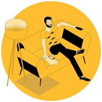 Concept smart tv - illustration avec un homme tenant la télécommande