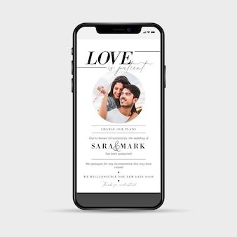 Concept de smartphone d'annonce de mariage reporté