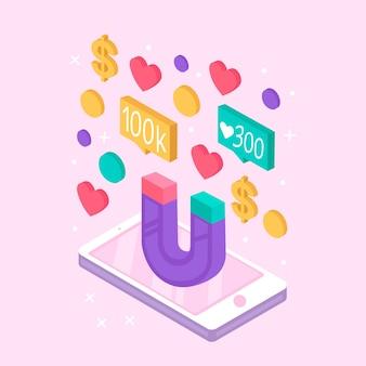 Concept de smartphone marketing des médias sociaux