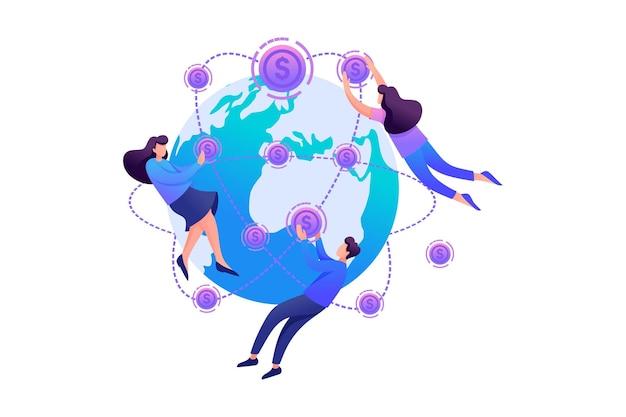 Concept société d'investissement internationale. personnage 2d plat. concept pour la conception de sites web.