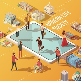 Concept de société de ville moderne avec des personnes communiquant via l'illustration vectorielle isométrique d'internet