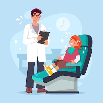 Concept de soins dentaires plat avec patient et dentiste