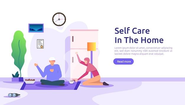 Concept de soins personnels et de séjour à la maison.