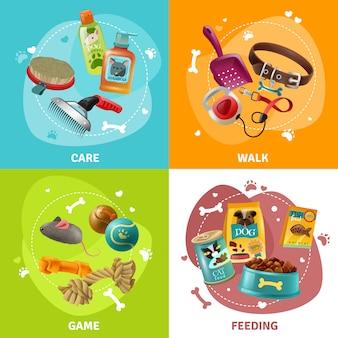 Concept de soins pour animaux de compagnie 4 icônes square design