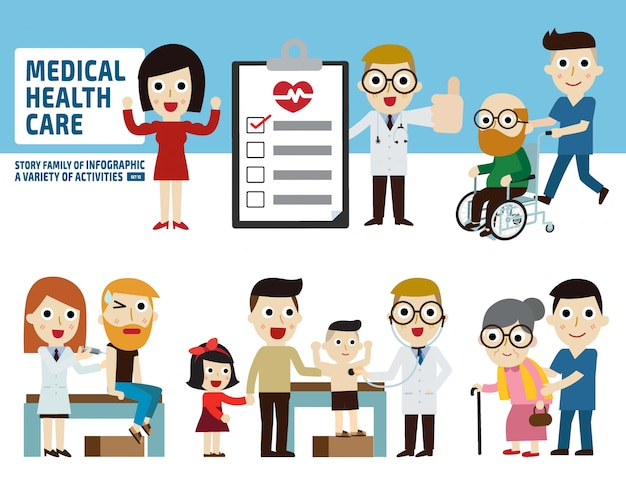 Concept de soins de santé check-up .. éléments infographiques.